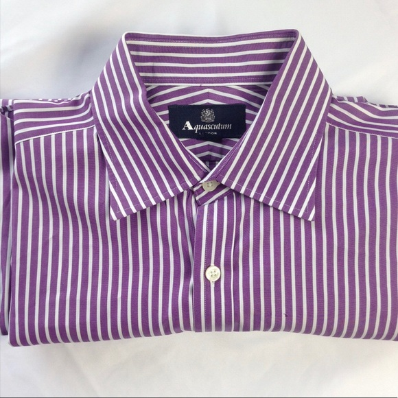 Aquascutum London Men's Purple Striped Dress Shirt